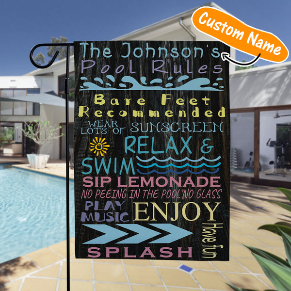 Custom Outdoor Pool Rules With Your Text Garden Flag (12.5in x 18in)