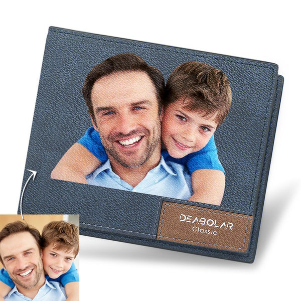 Father's Day Gifts - Custom Blue Leather Color Photo Wallet
