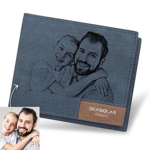 Father's Day Gifts - Custom Blue Short Photo Wallet