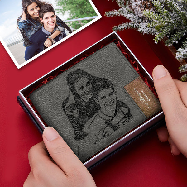 Personalized Engraved Leather Mens Wallet Custom Photo Anniversary Gift For Him