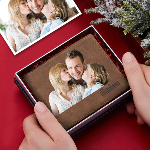 Custom Color Family Photo Wallet Personalized Engraved Text Husband Gift for Him