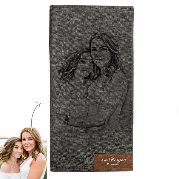 Father's Day Gifts - Custom Long Style Grey Photo Wallet