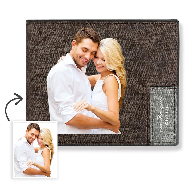 Custom Short Color Photo Wallet With Engraved Text On The Back