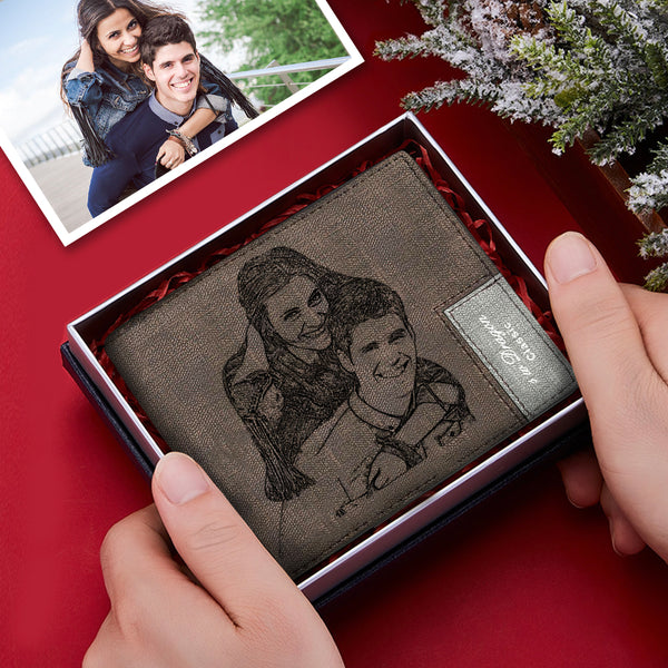 Custom Short Photo Wallet Personalized Engraved Leather Mens Wallet Gift For Him
