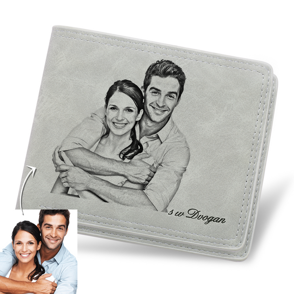 Father's Day Gifts - Custom Light Grey Short Photo Wallet