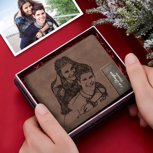 Custom Brown Couple Photo Wallet Personalized Engraved Leather Mens Wallet Best Gift For Him