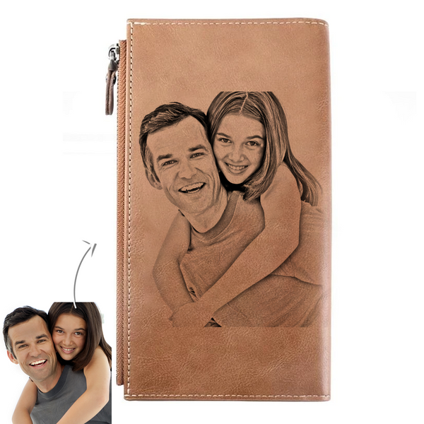 Custom Long Style Bifold Photo Wallet Personalized Leather Photo Wallet Gift For Him