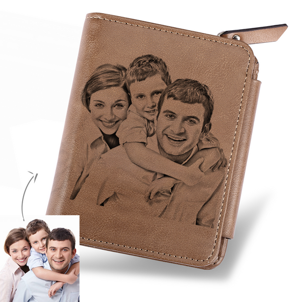 Custom Photo Mens Leather Wallet With Engraved Text On The Back