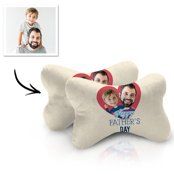 Custom Face Car Neck Pillow Father Theme With Your Photo