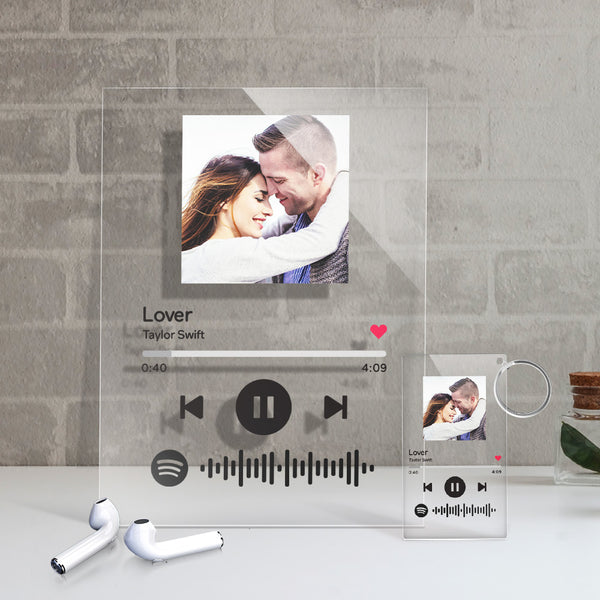 Custom Spotify Code Music Plaque (4.7in x 6.3in) With A Free Same Keychain(2.1in x 3.4in)