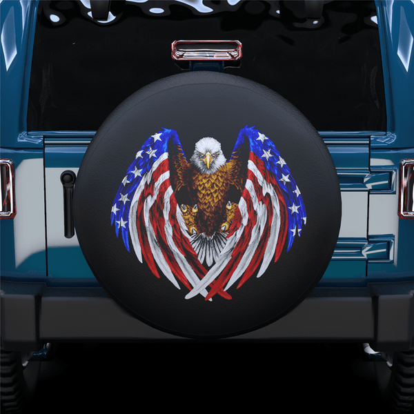 American Eagle &Flag Spare Tire Cover For Jeep/RV/Camper/SUV