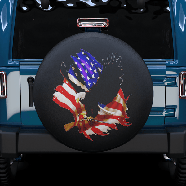 American Eagle&Broken U.S. Flag Spare Tire Cover For Jeep/RV/Camper/SUV
