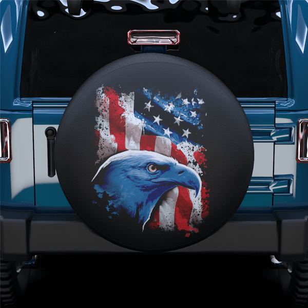 Side Face American Eagle Spare Tire Cover For Jeep/RV/Camper/SUV