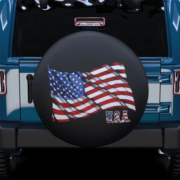 American Flag Fluttering Spare Tire Cover For Jeep/RV/Camper/SUV