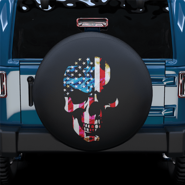 American Flag Skull Spare Tire Cover For RV