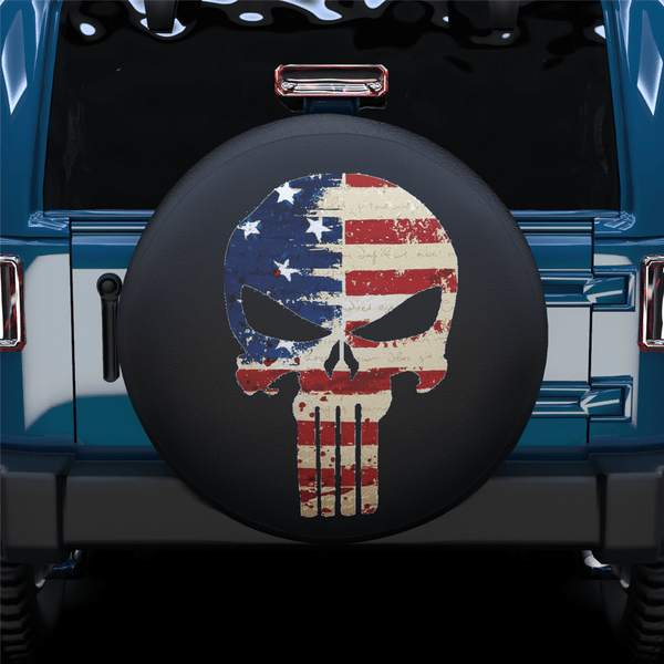 Skull Long Teeth American Flag Spare Tire Cover For Jeep/RV/Camper/SUV
