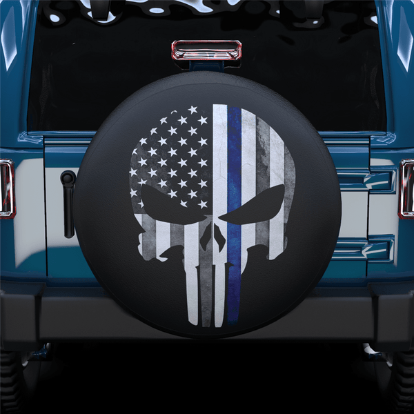 Skull Black White Blue American Flag Spare Tire Cover For SUV