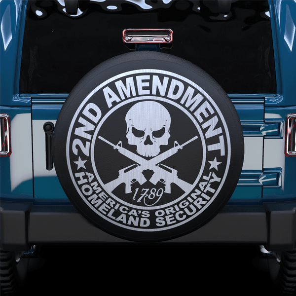 Cross Gun Skull Spare Tire Cover For SUV