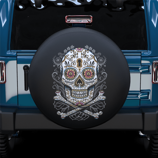 Art Skull Spare Tire Cover For Jeep/RV/Camper/SUV