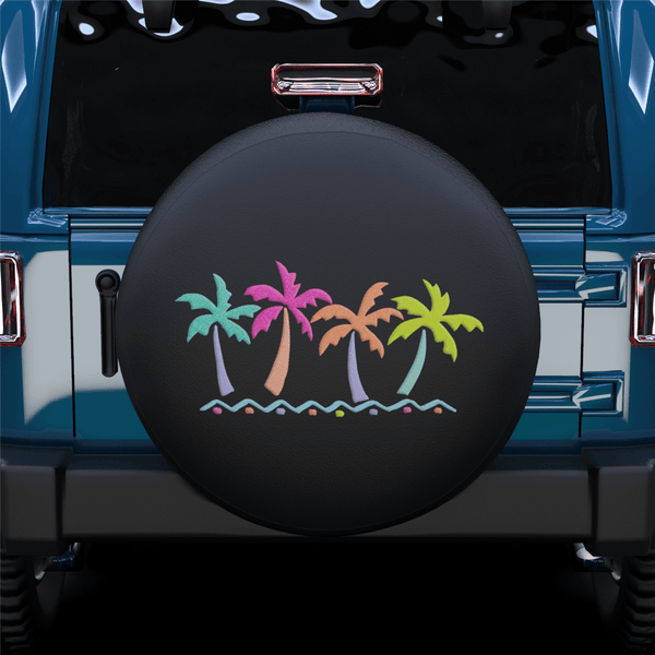 Colorful Coconut Tree Spare Tire Cover For Jeep/RV/Camper/SUV