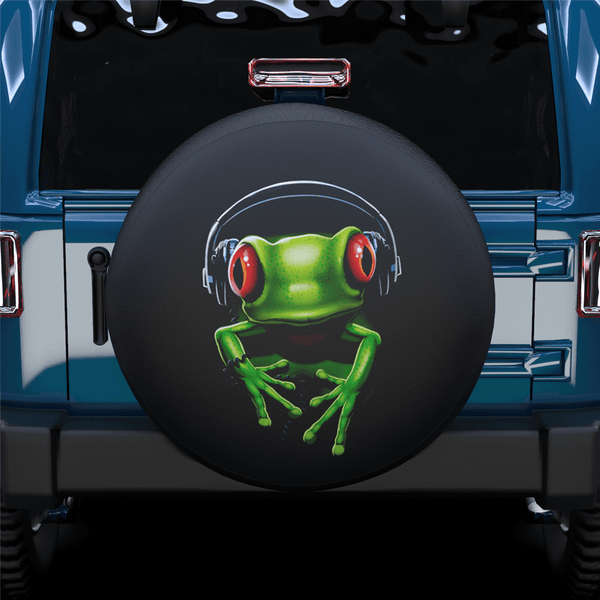 Frog Listening To Music Spare Tire Cover For Jeep/RV/Camper/SUV