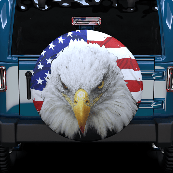 White Head Eagle American Flag Spare Tire Cover For Jeep/RV/Camper/SUV