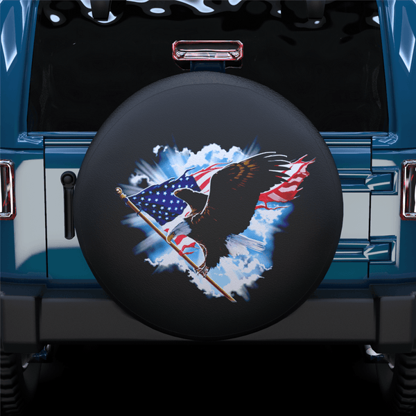 Fly American Eagel Spare Tire Cover For Jeep/RV/Camper/SUV