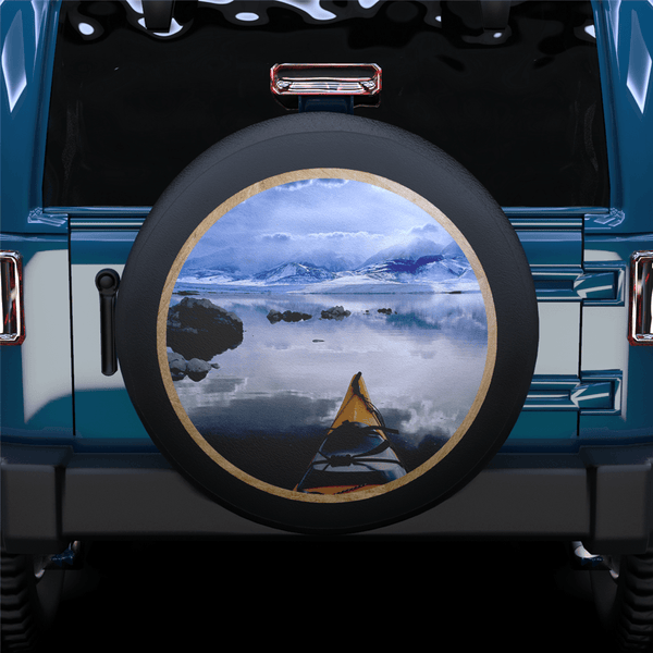 White Landscape Spare Tire Cover For Jeep/RV/Camper/SUV