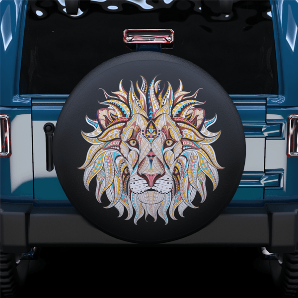 Color Art Lion Head Spare Tire Cover For RV