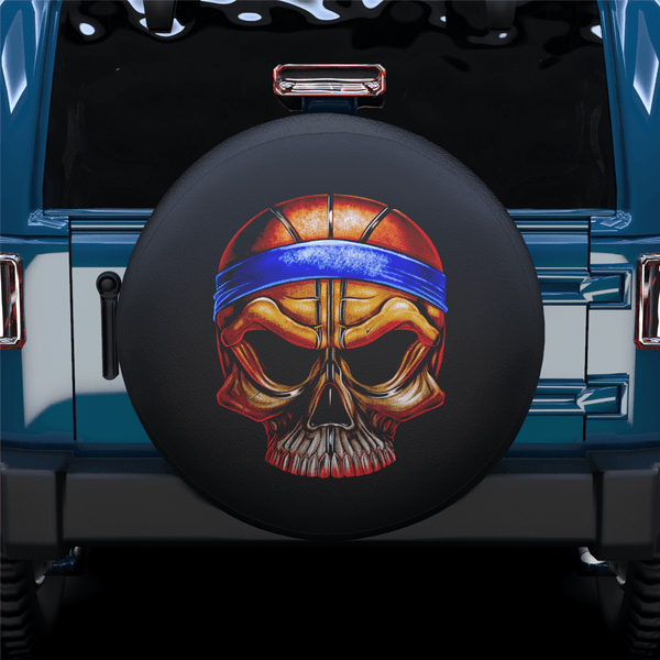 Basketball Theme Skull Spare Tire Cover For Jeep/RV/Camper/SUV