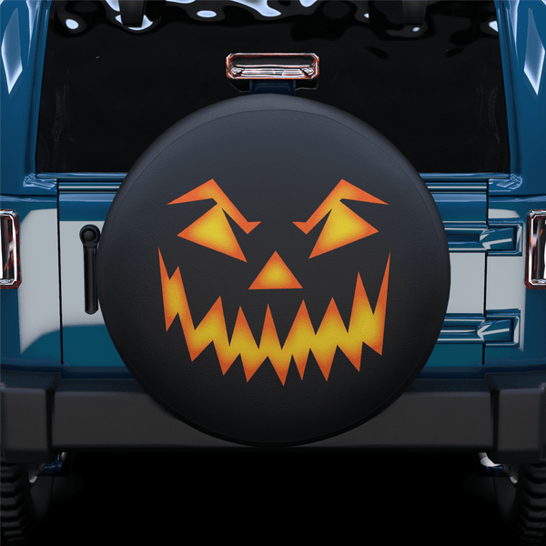 Halloween Pumpkin Face Spare Tire Cover For SUV