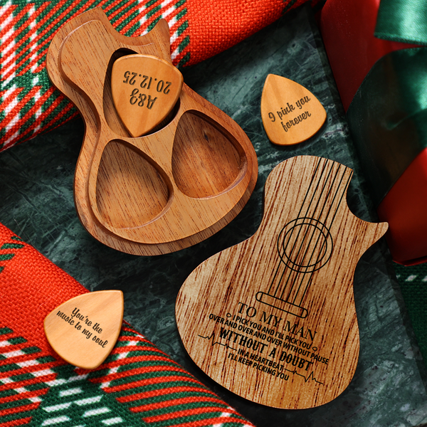 Personalized Wooden Guitar Picks & Pick Box - Country Guitar