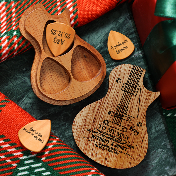 Personalized Wooden Guitar Picks & Pick Box - Electric Guitar