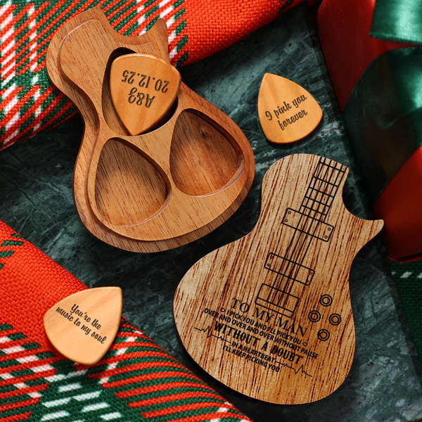 Personalized Wooden Guitar Picks & Pick Box - Bass Instrument