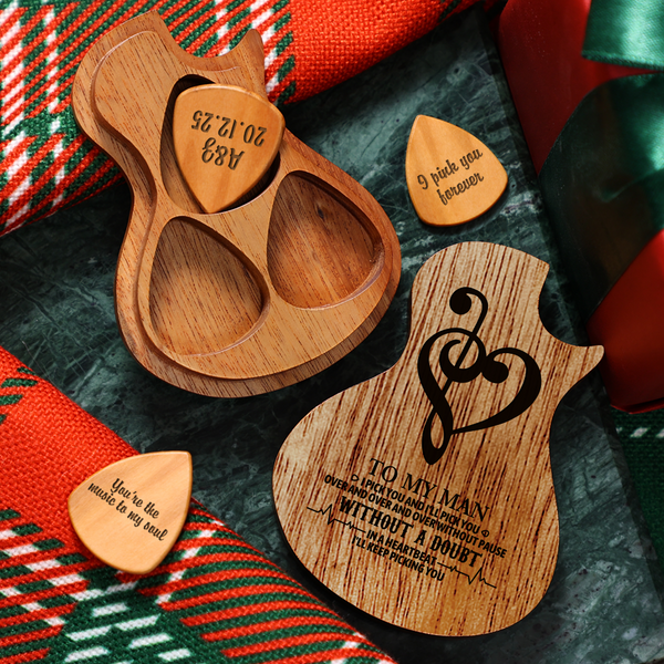 Personalized Wooden Guitar Picks & Pick Box - Heart Music Note