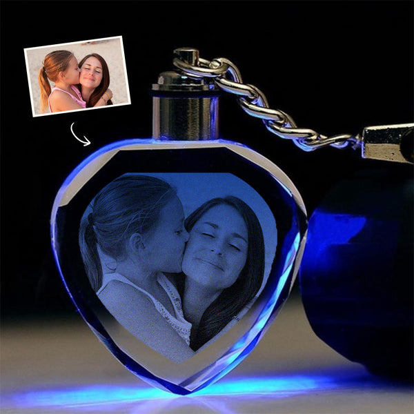 Custom Heart Shape Crystal Keychain - Mother's Day Gift