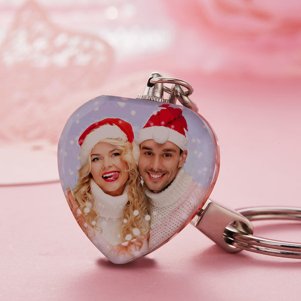 Christmas Gift - Custom Crystal Photo Keychain - Heart
