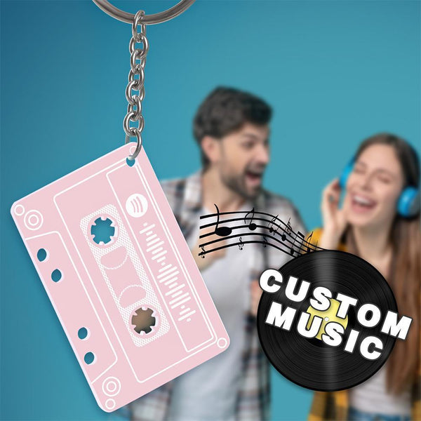 Custom Spotify Code Music Song Keychain Memorial Gifts-Pink