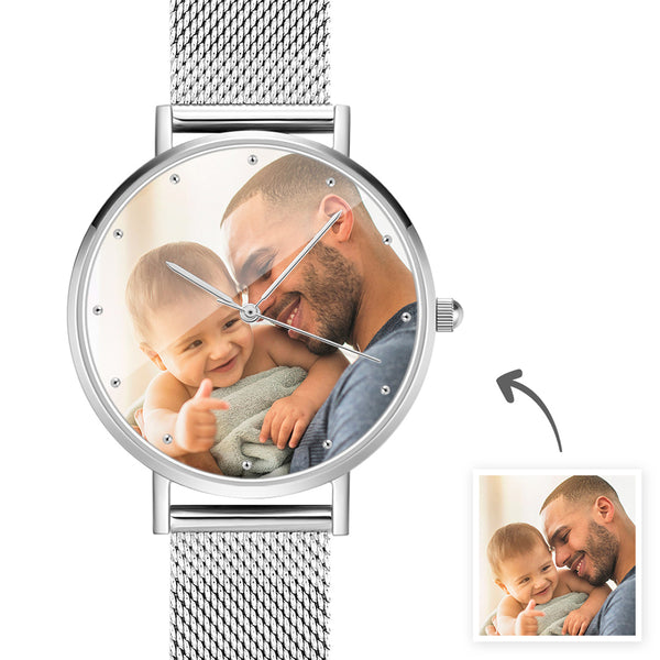 Father's Day Gifts - Custom Engraved Silver Alloy Photo Watch