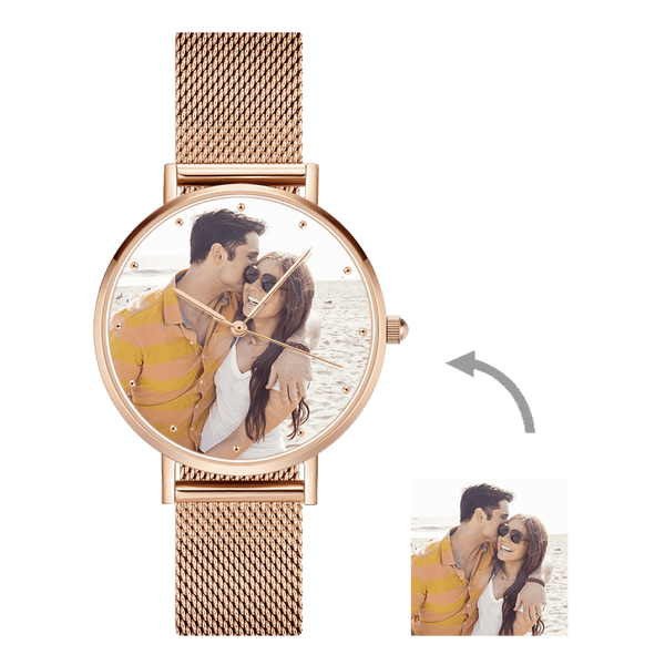 Father's Day Gifts - Custom Engraved Rose Gold Alloy Photo Watch
