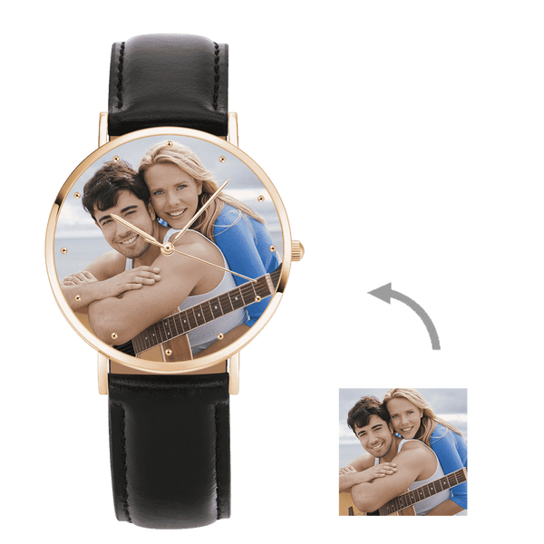 Christmas Gifts - Custom Engraved Rose Gold Photo Watch Black Leather Strap