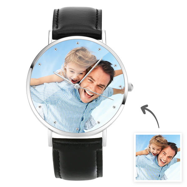 Father's Day Gifts - Custom Engraved Photo Watch With Black Leather Strap