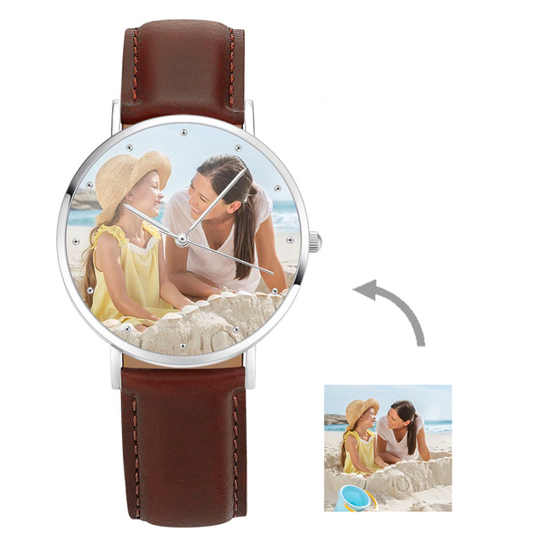 Christmas Gifts - Custom Engraved Silver Photo Watch Brown Leather Strap