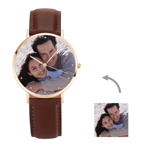 Christmas Gifts - Custom Engraved Rose Gold Photo Watch Brown Leather Strap