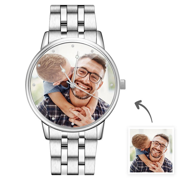Father's Day Gifts - Custom Engraved Photo Watch Men's Silver Alloy Bracelet