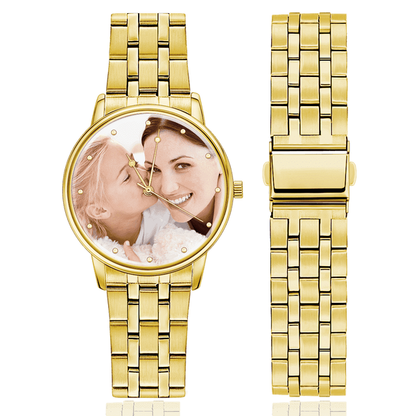 Christmas Gifts - Custom Engraved Golden Alloy Photo Watch