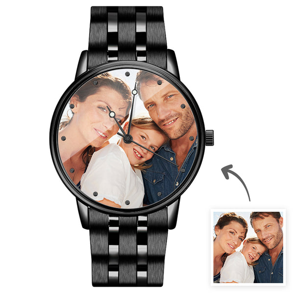 Christmas Gifts - Custom Engraved Black Alloy Photo Watch