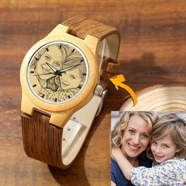 Father's Day Gifts - Custom Engraved Wooden Photo Watch Wood Grain Strap