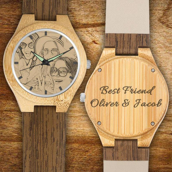 Father's Day Gifts - Custom Engraved Bamboo Photo Watch with Wooden Leather Strap