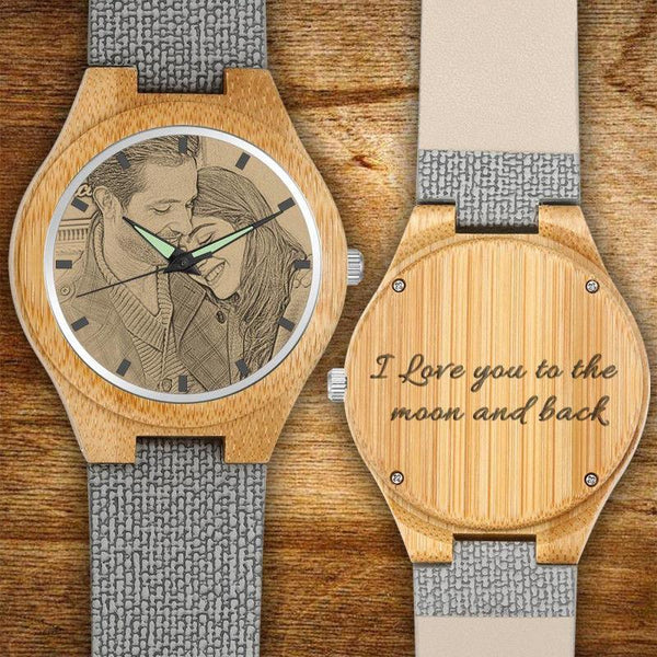 Christmas Gifts - Custom Engraved Wooden Photo Watch Grey Leather Strap